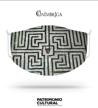 <p>Adaptation<br /><br />Reusable / washable social textile mask inspired by the Roman mosaic with square panel, containing the labyrinth and the head of the Minotaur of Casa dos Repuxos, from the 3rd century.<br /><br />- Size L<br />- Level 3 protection certified by CITEVE<br />- Composition: 100% polyester<br />- Includes 5 TNT filters<br />- Washable at 60º<br />- Made in Portugal<br /><br />Museu Monográfico de Conimbriga - Museu Nacional</p>